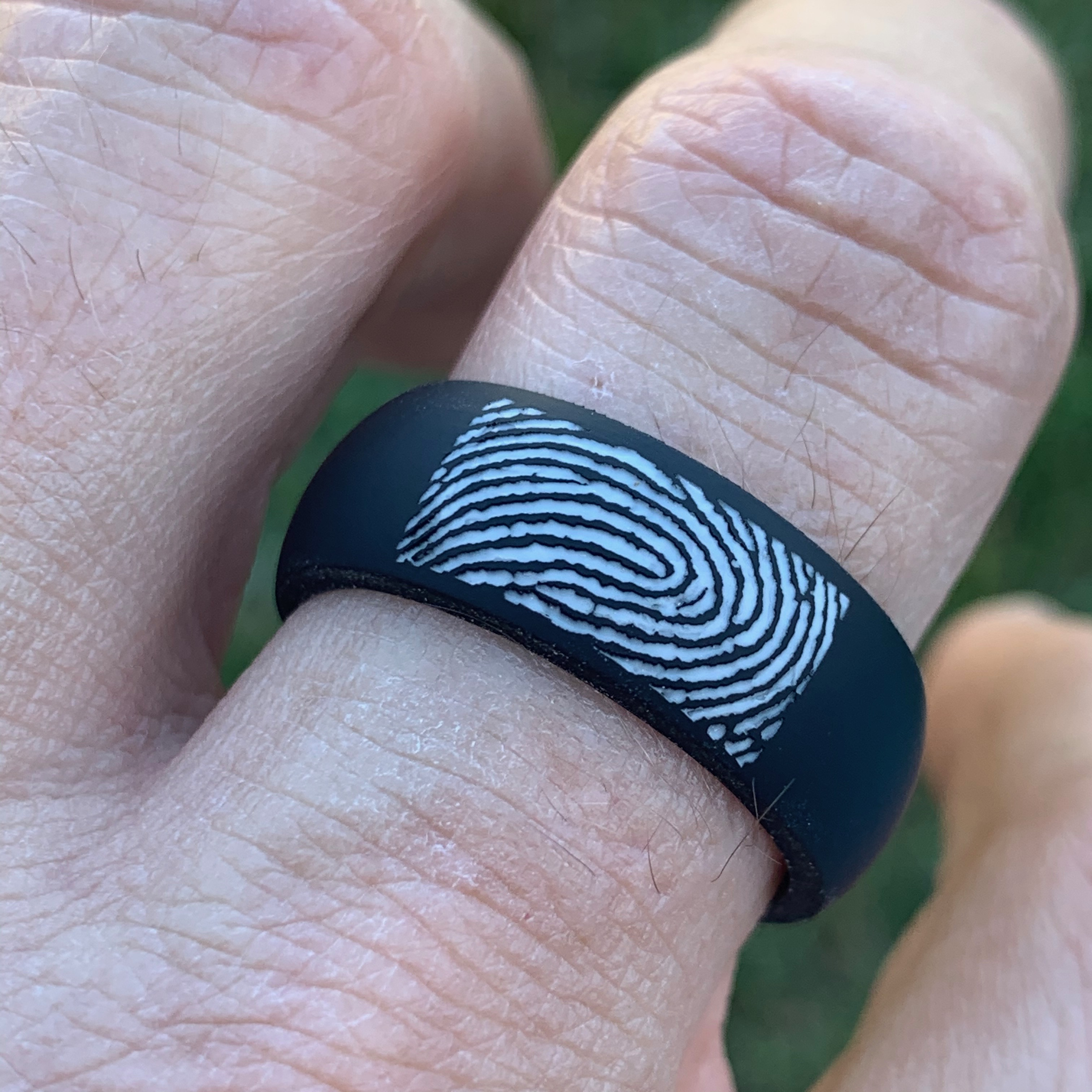 Black 8mm Silicone Fingerprint ring by Brent & Jess