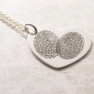 Two become one fingerprint heart necklace