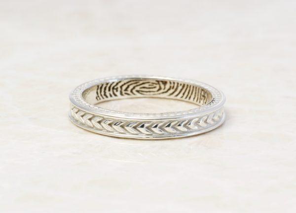 wheat pattern fingerprint ring